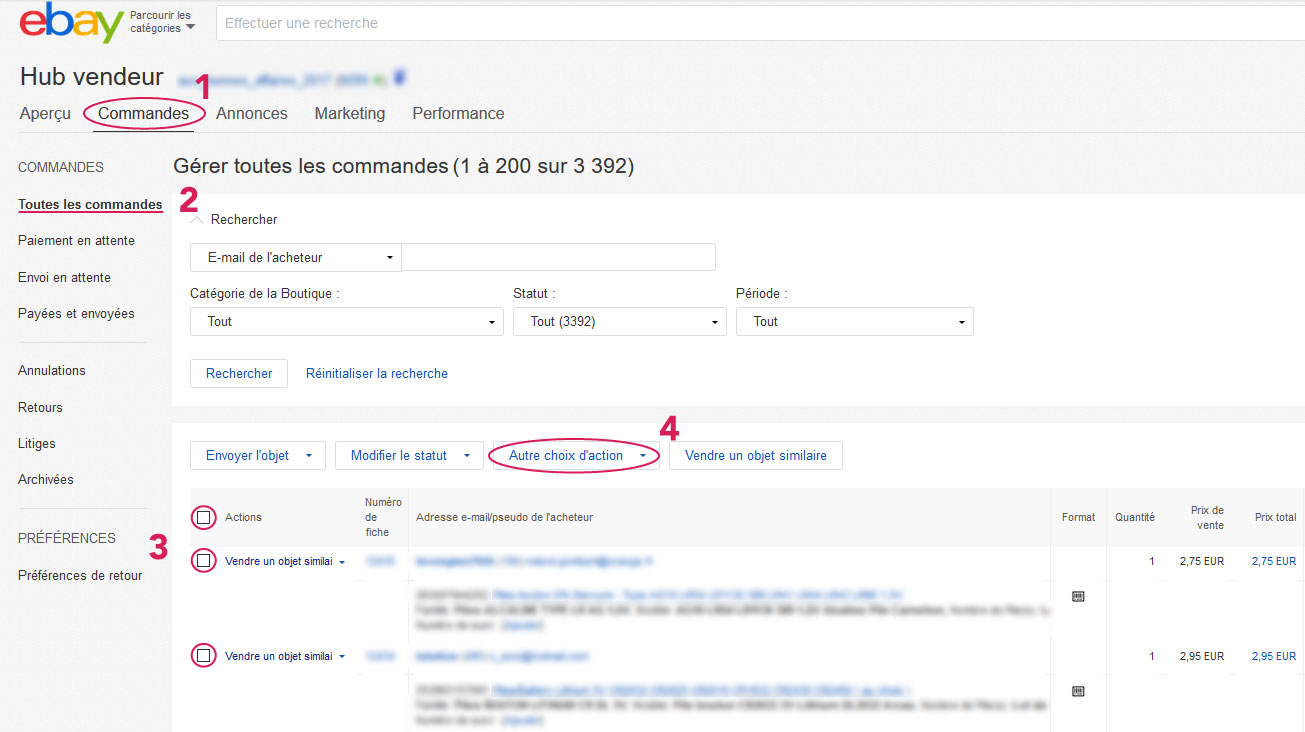 commandes et factures ebay - import en facturation