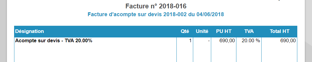 factures d'acompte-TVA